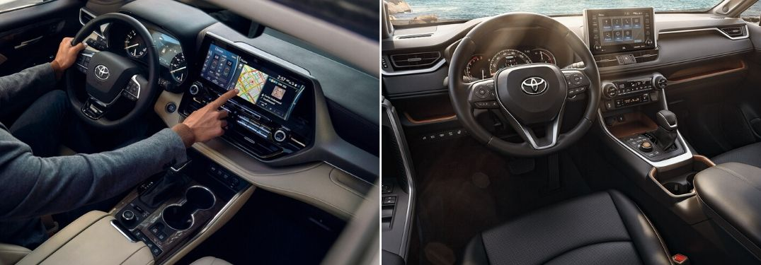 Overhead View of Man in Driver's Seat of 2020 Toyota Highlander vs 2020 Toyota RAV4 Front Seat Interior
