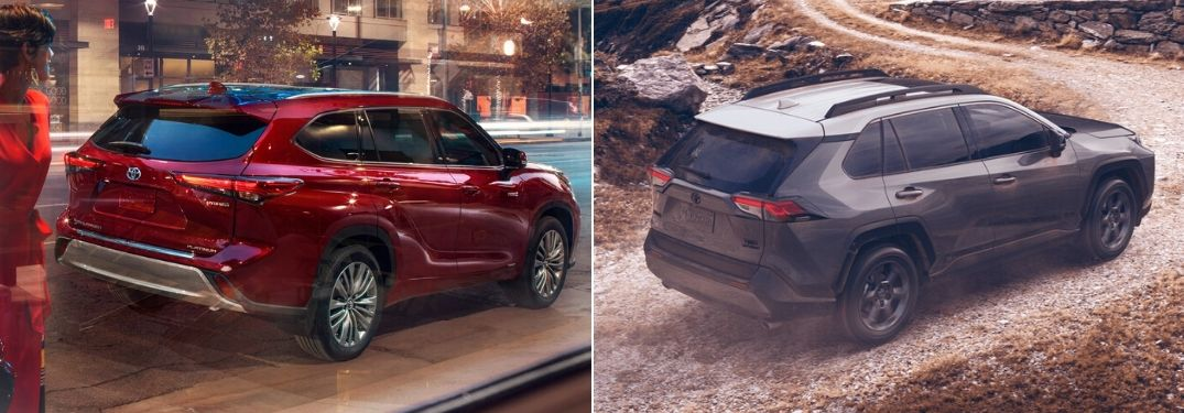 Red 2020 Toyota Highlander Rear Exterior on City Street at Night vs Gray 2020 Toyota RAV4 Rear Exterior on a Dirt Trail